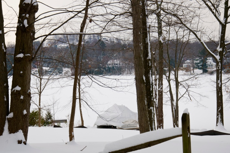 An entire reservoir, frozen and snowed over.