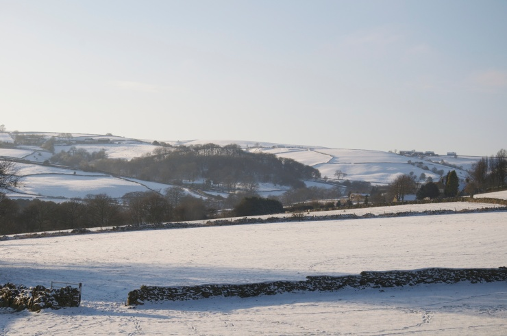The serene Mayfield Valley, dusted gently with snow.