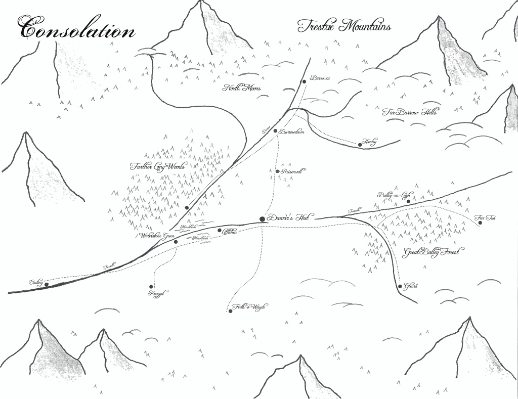 Map of Consolation, homeland of Brandyé and setting for Book One.