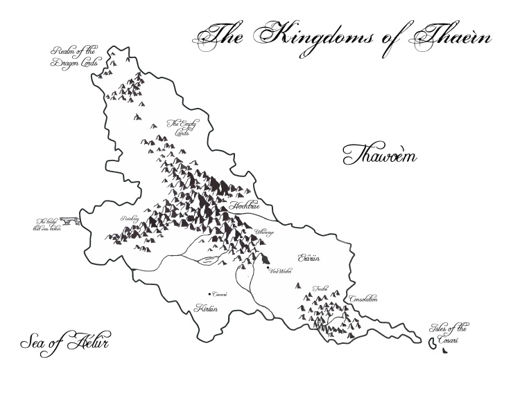 Map of the land of Thaeìn, one of the major continents of Erâth.