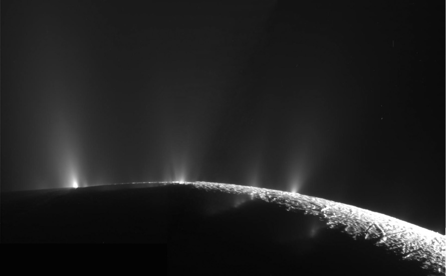 Water geysers erupting from Enceladus's south pole.