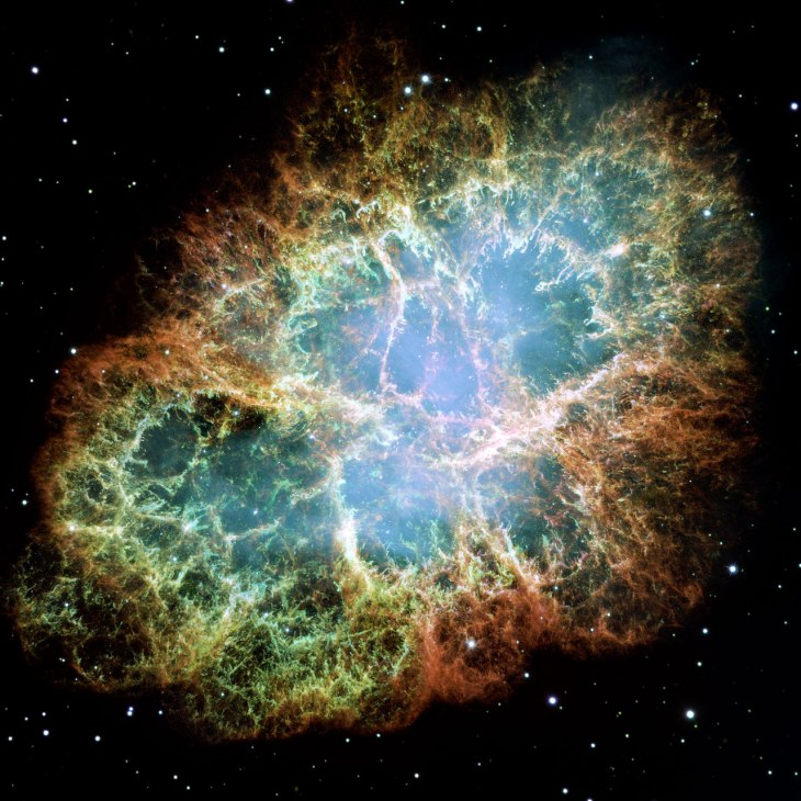 The Crab Nebula, about 6,500 light years away.