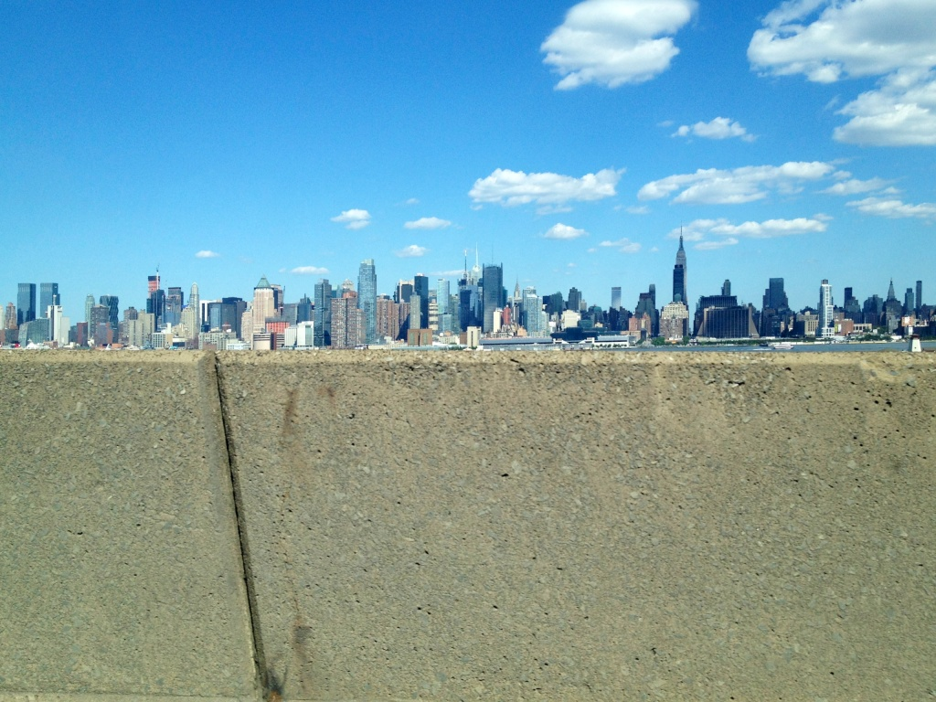 New York City from the Jersey-side Lincoln Tunnel off ramp.