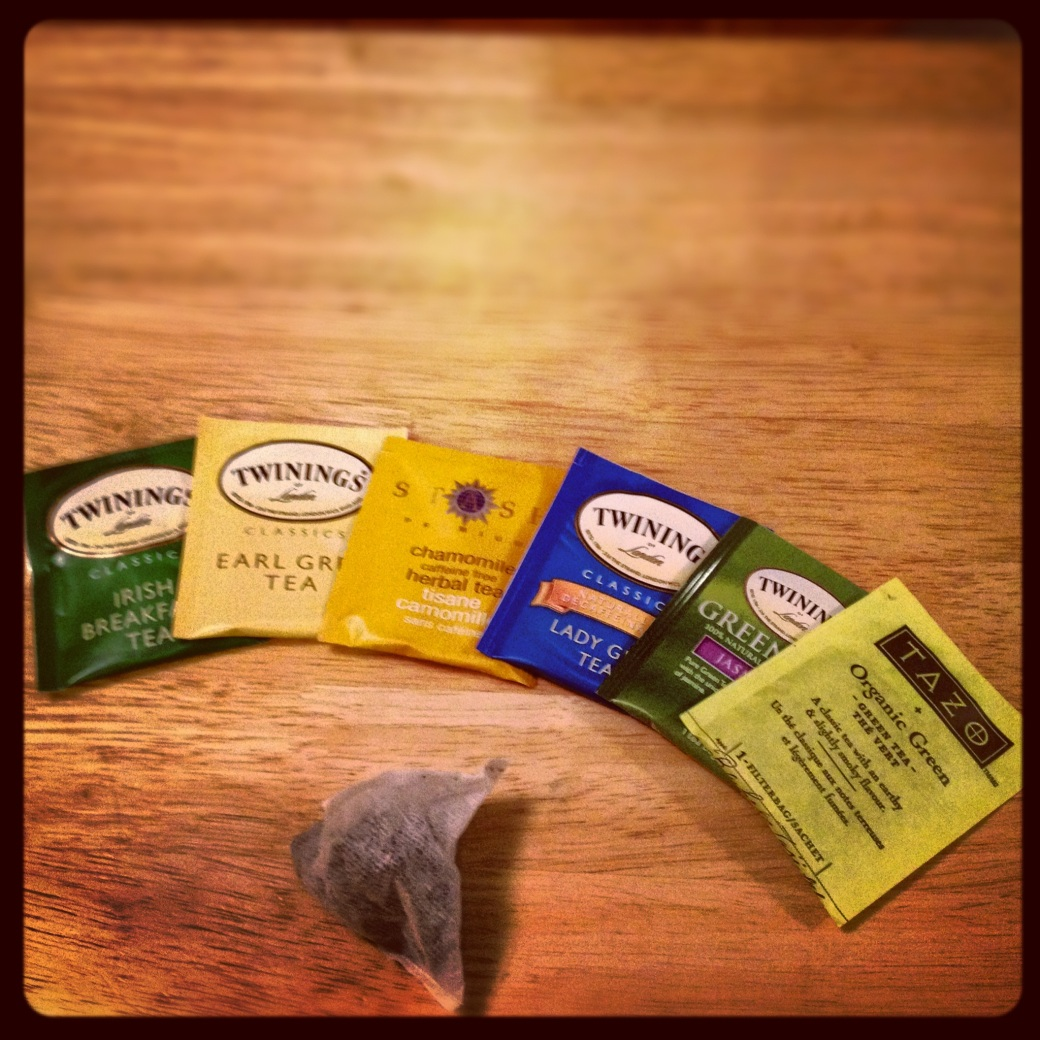 Irish Breakfast, Earl Grey, Chamomile, Lady Grey, Jasmine, Green and PG Tips.