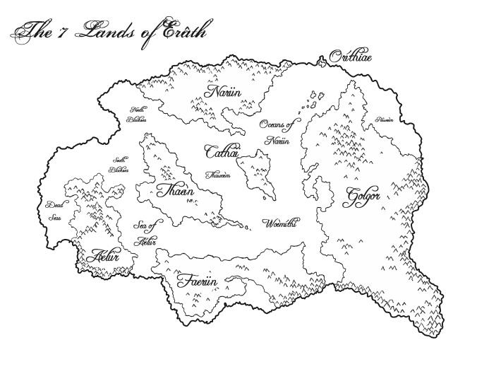 The world of Erâth, with the seven continents: Golgor, Cathaï, Faerün, Thaeìn, Aélûr, Narün and Oríthiae.
