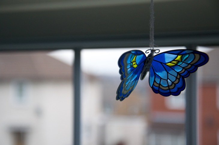 A pretty butterfly hanging in Little Satis' room.